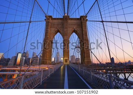 Brooklyn Bridge. Image of the famous Brooklyn Bridge at sunrise. - stock photo