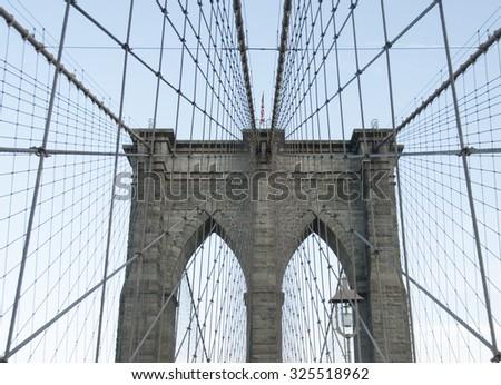 Brooklyn Bridge in New York City.  - stock photo