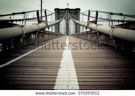 Brooklyn Bridge - New York City, NY, USA - stock photo