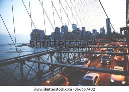 Brooklyn Bridge New York City Urban Metropolitan Concept - stock photo