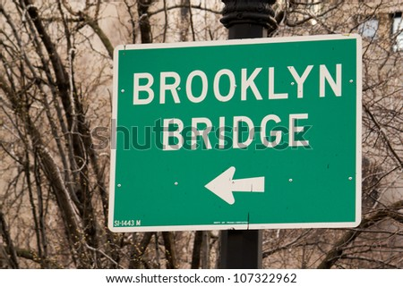 Brooklyn Bridge Sign in New York City - U.S.A. - stock photo