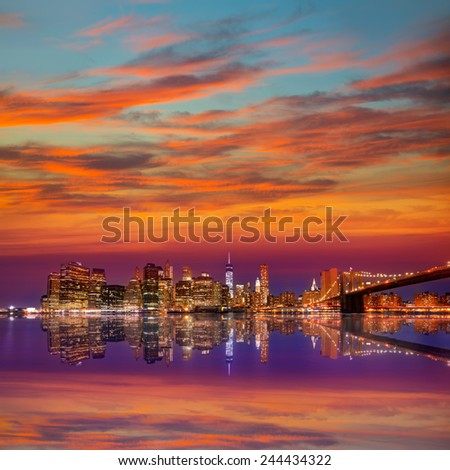 Brooklyn Bridge sunset New York Manhattan NY NYC USA - stock photo