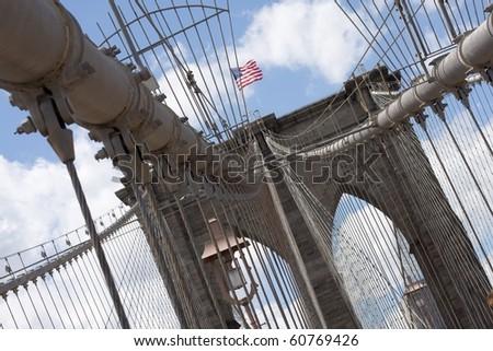 Brooklyn Bridge Tower at an angle - stock photo