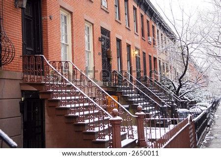 brooklyn brownstone - stock photo