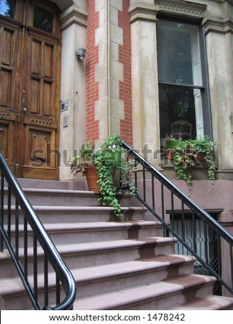 brooklyn heights brownstone stairs - stock photo
