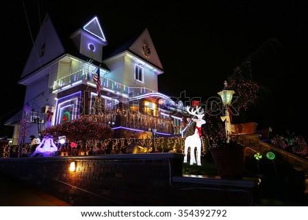 BROOKLYN, NEW YORK - DECEMBER 22, 2015: Christmas house decoration lights display in Brooklyn - stock photo