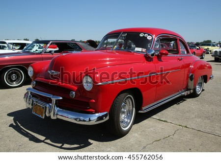 BROOKLYN, NEW YORK - JUNE 12, 2016: Historical 1948 Chevrolet on display at the Antique Automobile Association of Brooklyn annual Spring Car Show  - stock photo