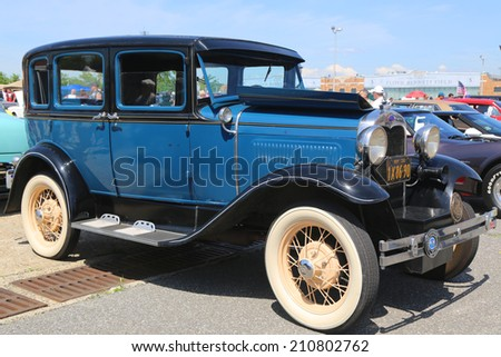 BROOKLYN, NEW YORK - JUNE 8: Historical 1930 model A Ford on display at the Antique Automobile Association of Brooklyn annual Spring Car Show on June 8, 2014 in Brooklyn, New York  - stock photo