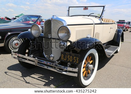 BROOKLYN, NEW YORK - JUNE 8, 2014: Historical 1930 Oakland Convertible on display at the Antique Automobile Association of Brooklyn annual Spring Car Show in Brooklyn, New York  - stock photo