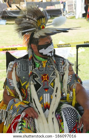 BROOKLYN, NEW YORK - JUNE 2:Unidentified Native American at the NYC Pow Wow in Brooklyn on June 2, 2013. A pow-wow is a gathering and Heritage Celebration of North America s Native people - stock photo