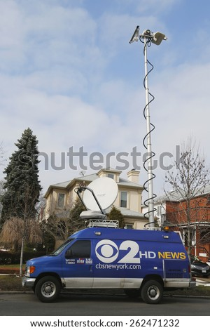 BROOKLYN, NEW YORK - MARCH 21, 2015: CBS Channel 2 HD News van in Brooklyn. WCBS-TV, channel 2, is the flagship station of the CBS Television Network, located in New York City - stock photo