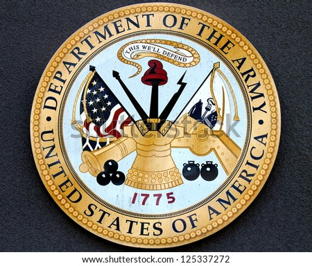 BROOKLYN, NEW YORK - MAY 17:Department of the Army logo at the military base on May 17, 2012 in New York. US Army is the main branch of the US Armed Forces responsible for land-based operations - stock photo