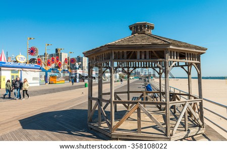 BROOKLYN, NEW YORK - OCT 20: Coney Island known for its boardwalk restaurants and amusement park is a peninsula and beach on the Atlantic Ocean in southern Brooklyn New York, October 20, 2015.