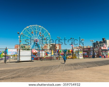 BROOKLYN, NEW YORK - OCT 20: Coney Island known for its boardwalk restaurants and amusement park is a peninsula and beach on the Atlantic Ocean in southern Brooklyn New York, October 20, 2015. - stock photo