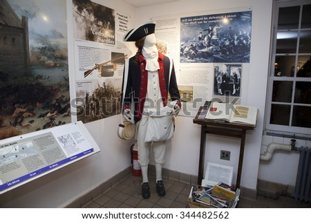 BROOKLYN, NEW YORK, USA - NOVEMBER 22: A mannequin wears a British Revolutionary war uniform inside the Old Stone House.  Taken November 22, 2015 in NY. - stock photo
