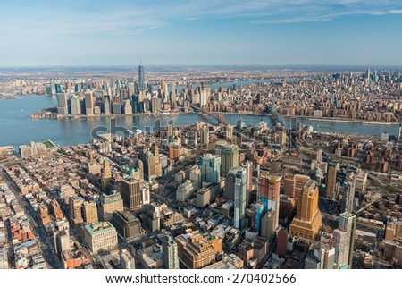 BROOKLYN,NY - APRIL 5:Aerial view of Brooklyn with downtown Manhattan in the background on april 5,2015.It is the most populous of New York City's five boroughs, with about 2.6 million people - stock photo