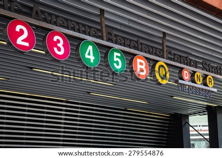 BROOKLYN, NY - APRIL 25, 2015:  Iconic New York City subway train circle signs seen at the Atlantic Avenue Station in Brooklyn.