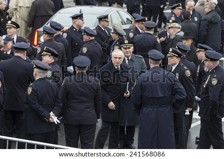 Brooklyn, NY - January 04, 2015: NYPD Commissioner Bill Bratton attends ceremony at Aievoli Funeral Home for the funeral of slain New York City Police Officer Wenjian Liu