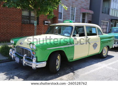 BROOKLYN, NY - JUNE 21, 2014: Checker Marathon taxi car produced by the Checker Motors Corporation. The Checker remains the most famous taxi cab vehicle in the United States