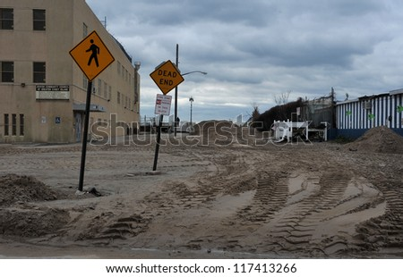 BROOKLYN, NY - NOVEMBER 01: Serious damage on the beach at the Seagate neighborhood due to impact from Hurricane Sandy in Brooklyn, New York, U.S., on Thursday, November 01, 2012. - stock photo