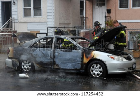 BROOKLYN, NY - OCTOBER 30: Fire department people fought fire in the Sheapsheadbay neighborhood due to flooding from Hurricane Sandy in Brooklyn, New York, U.S., on Tuesday, October 30, 2012.