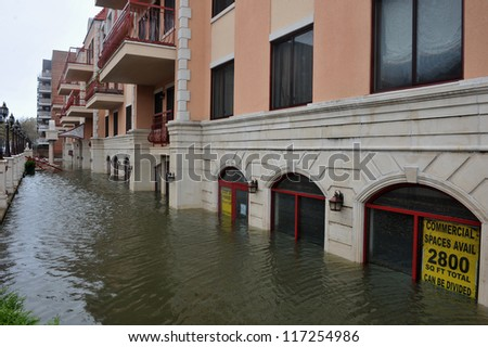 BROOKLYN, NY - OCTOBER 30: Serious flooding in the buildings at the Sheapsheadbay neighborhood due to impact from Hurricane Sandy in Brooklyn, New York, U.S., on Tuesday, October 30, 2012. - stock photo
