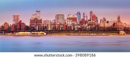 Brooklyn skyline panorama under a sunset light. - stock photo