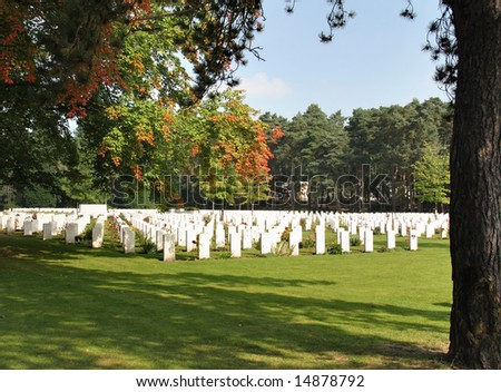 Brookwood Military Cemetery in England with trees in their Autumn Colors
