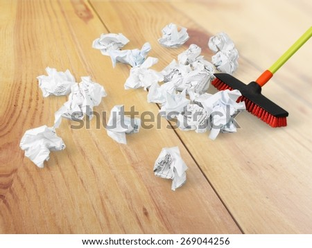 Broom, Sweeping, Cleanup. - stock photo