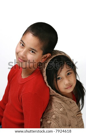 Brother and sister - stock photo