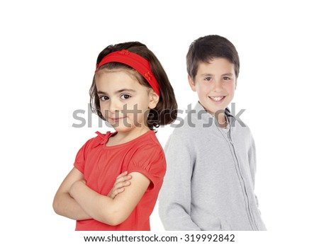 Brother and sister. Girl dressed in red and happy boy background - stock photo