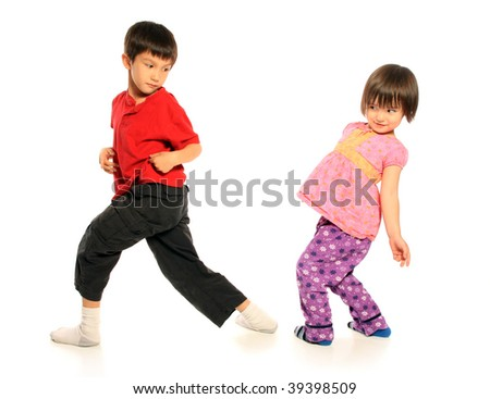 Brother and Sister having fun - stock photo