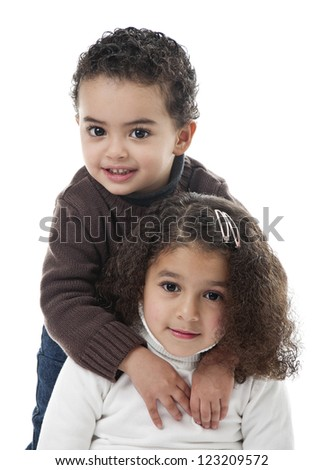 Brother and Sister Isolated on White Background - stock photo