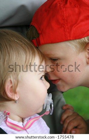 Brother and sister love - stock photo