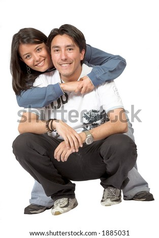 brother and sister over a white background - stock photo