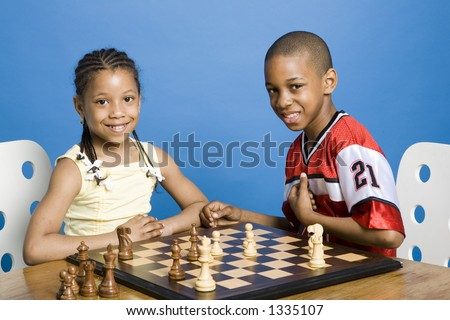 Brother and sister playing - stock photo