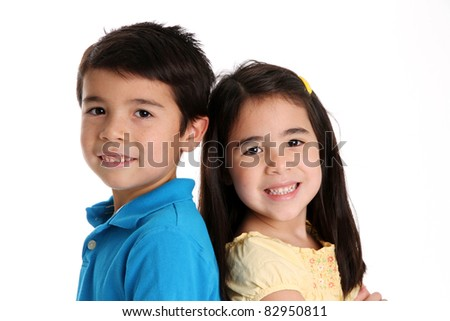 Brother and sister together on a white background