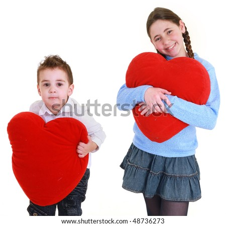 brother and sister with red heart