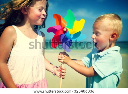 Brother Sister Fun Beach Children Kids Togetherness Concept - stock photo