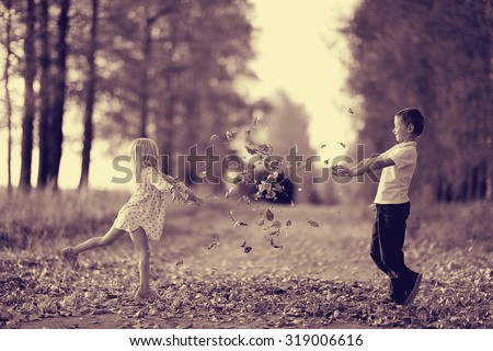 brother sister nature autumn - stock photo