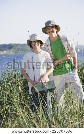 Brothers Fishing Together - stock photo