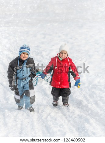 Brothers going up on a hill pulling a sledge
