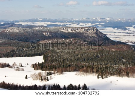 Broumovske Steny Mountains in Czech Republic - stock photo