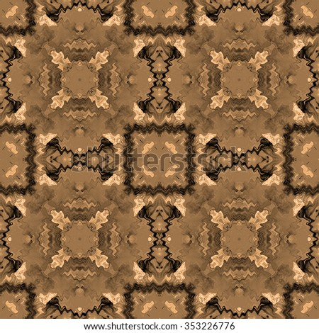 brown abstract lines, geometric seamless pattern - stock photo