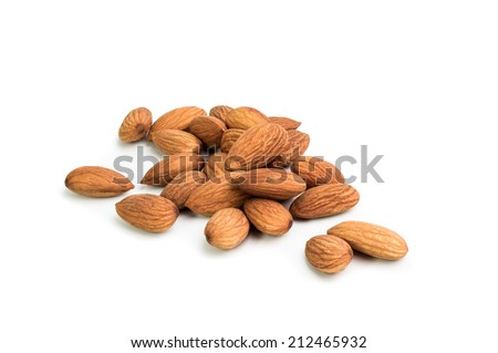 Brown almonds isolated on the white background  - stock photo