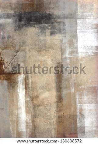 Brown and Beige Abstract Art Painting - stock photo