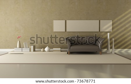 brown and beige living room with fashion sofa - rendering - stock photo