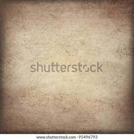 brown and beige parchment paper illustration background with black vignette burnt edges on border of frame and old vintage texture with stain spots and grunge - stock photo