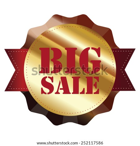 brown and gold metallic big sale sticker, badge, icon, label isolated on white - stock photo