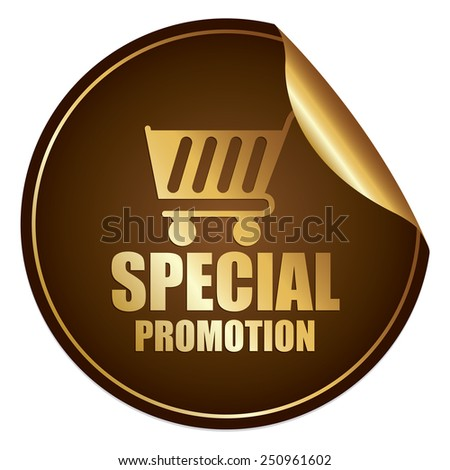Brown and Gold Metallic Special Promotion Sticker, Icon or Label Isolated on White Background  - stock photo